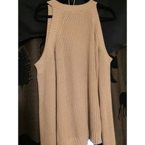 Forever 21 off the shoulder tan long sleeve top